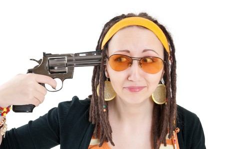 suicide girl with gun photo