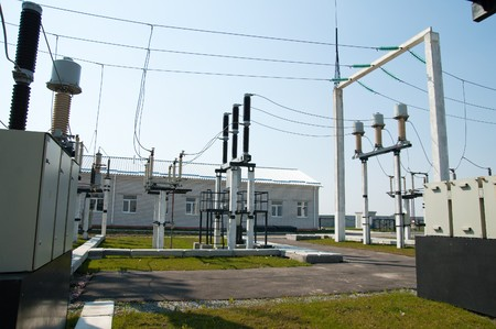 part of high-voltage substation with switches and disconnectors photo