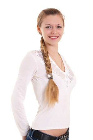 portrait of beautiful blonde with big braid Stock Photo - 7629055