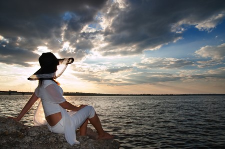 young fashion woman on the beach Stock Photo - 7804407