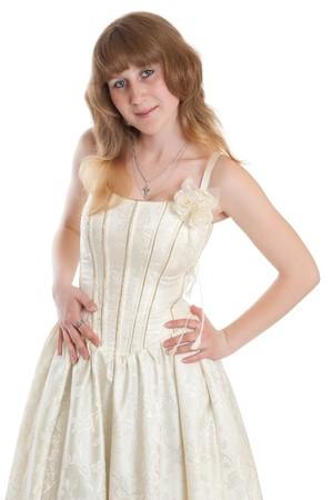 beautiful young girl in wedding dress photo