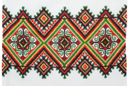 embroider: embroidered good by cross-stitch pattern