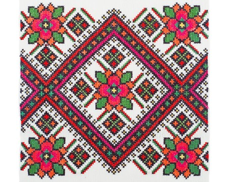 embroidered good by cross-stitch pattern photo