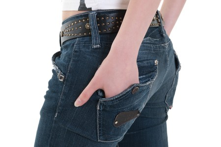 standing backwards lady with hand in pocket Stock Photo - 7804573