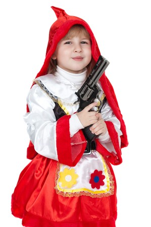 modern Little Red Riding Hood with gun photo