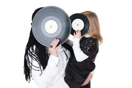 big and little girls with vinyl discs Stock Photo - 7852147