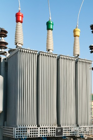 transformer on high power station. High voltage photo