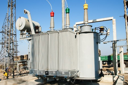 electricity supply: transformer on high power station. High voltage Stock Photo