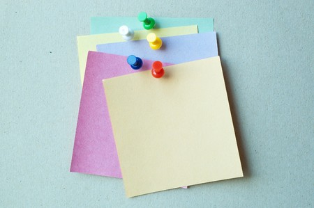 color pins with color note paper photo