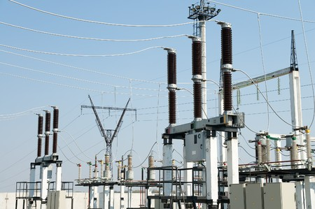 switches: part of high-voltage substation with switches and disconnectors Stock Photo