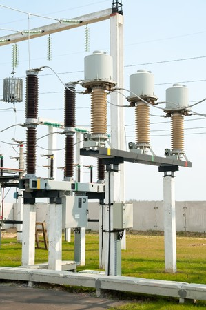 part of high-voltage substation with switches and disconnectors Stock Photo - 7972440