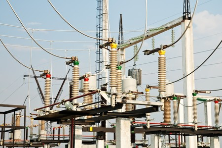 part of high-voltage substation with switches and disconnectors Stock Photo - 7972439