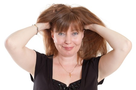 red-haired woman with hands up Stock Photo - 7957148