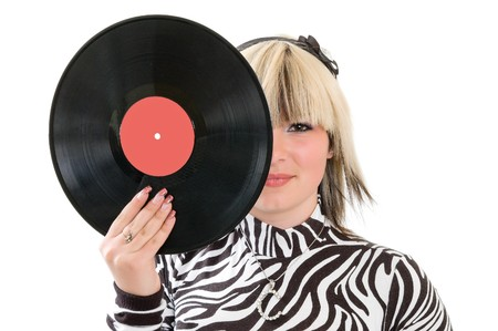 girl with vinyl disc closeup Stock Photo - 8037503