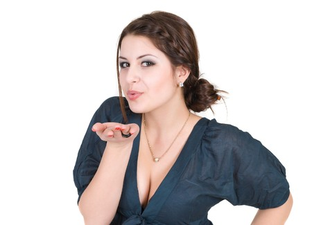 beautiful young woman blow kisses to somebody Stock Photo - 8124832