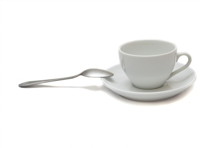 white cup with spoon and saucer isolated on white background Stock Photo - 8124848