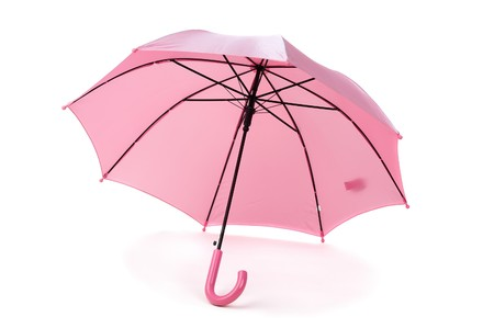 pink umbrella over white Stock Photo