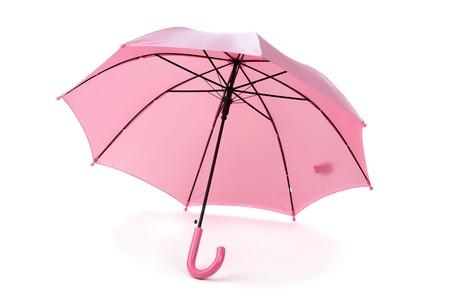 Rosa paraguas sobre blanco