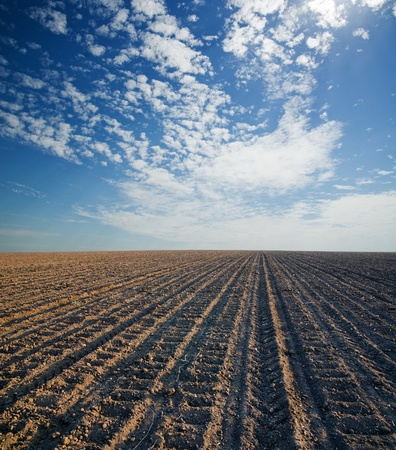 black ploughed field under blue cloudy sky photo