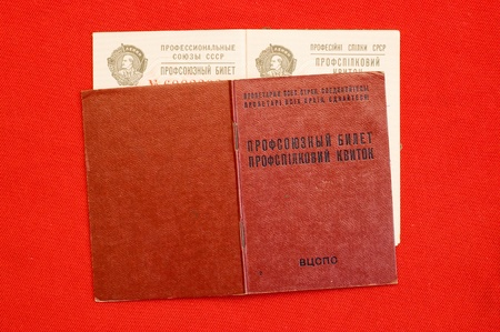 union card of USSR over red photo