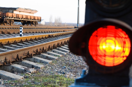 stop signal lamp on railway photo