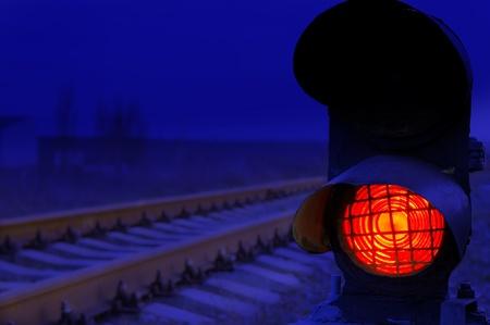 stop signal lamp in dusk Stock Photo - 8357632