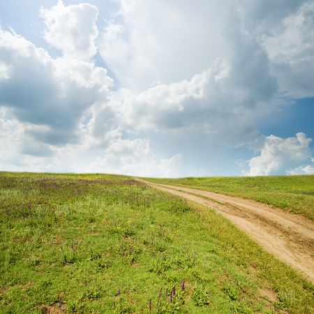rural road in grass under cloudy sky Stock Photo - 8525289