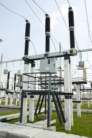transformer: part of high-voltage substation with switches and disconnectors Stock Photo