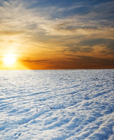 sunset over field under snow Stock Photo - 8764504