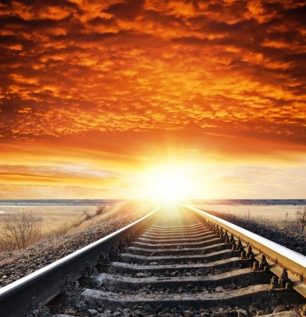 鉄道日没 写真素材