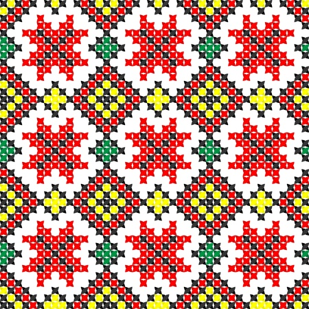 seamless embroidered good like handmade cross-stitch pattern Vector