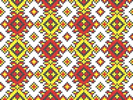 seamless embroidered good like handmade cross-stitch ethnic Ukraine pattern Stock Vector - 8962097