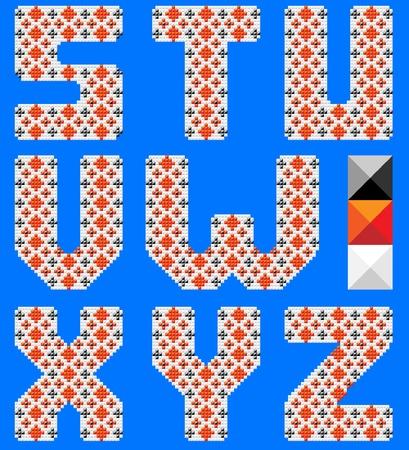 Color latin alphabet like cross pattern. Ukranian design. Blue background Vector