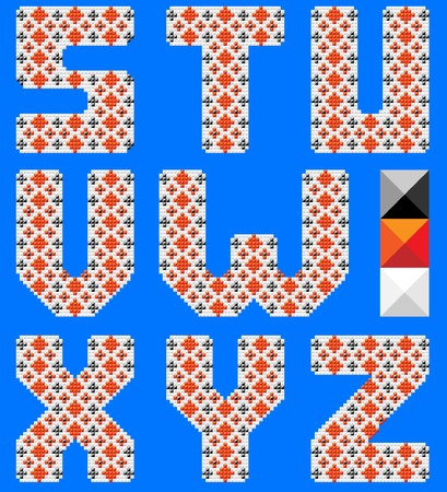 stitchcraft: Color latin alphabet like cross pattern. Ukranian design. Blue background Illustration