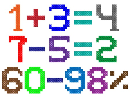 handwork: color digits by cross pattern for handwork