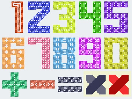 stitchcraft: color digits by cross pattern for handwork