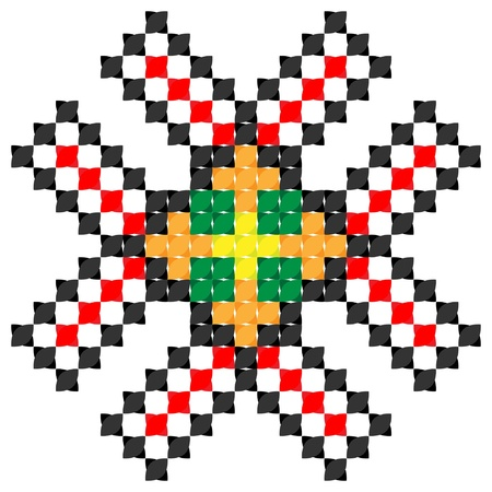 part of embroidered good like handmade cross-stitch ethnic Ukraine pattern Vector