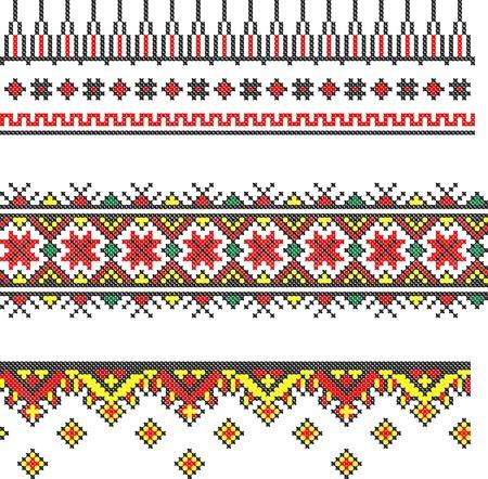 gestickt: drei nahtlose bestickt gut wie handmade Kreuzstich ethnischen Ukraine Muster