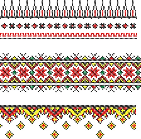 serviette: three seamless embroidered good like handmade cross-stitch ethnic Ukraine pattern Illustration