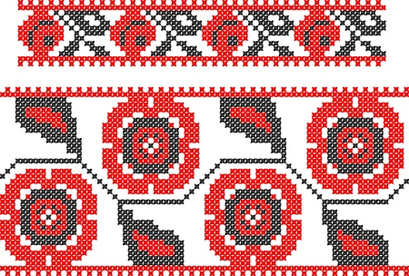 two seamless embroidered good like handmade cross-stitch ethnic Ukraine pattern Stock Vector - 8949259