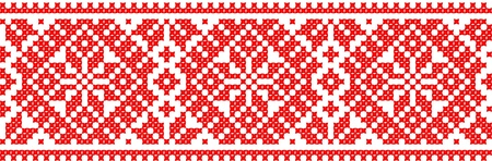 embroidery on fabric: red color embroidered good like handmade cross-stitch ethnic Ukraine pattern