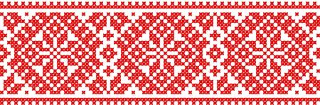 gestickt: rote Farbe gut wie handmade Kreuzstich ethnischen Ukraine Muster bestickt Illustration