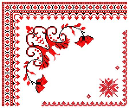 lavoro manuale: due ricamato buono come modello di Ucraina etnico a mano a punto croce