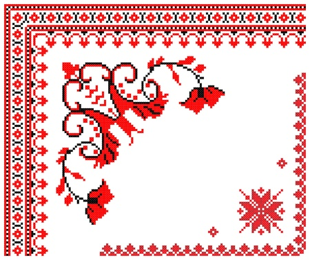 two embroidered good like handmade cross-stitch ethnic Ukraine pattern Vector