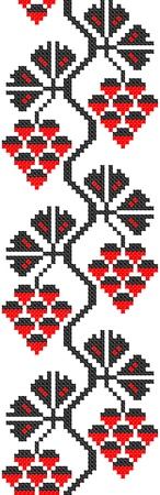 seamless embroidered good like handmade cross-stitch ethnic Ukraine pattern Vector