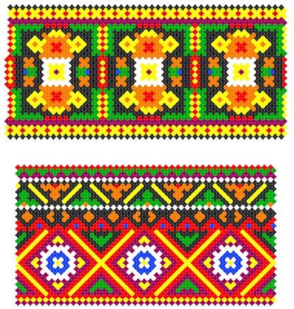 two embroidered goods like handmade cross-stitch ethnic Ukraine pattern Vector