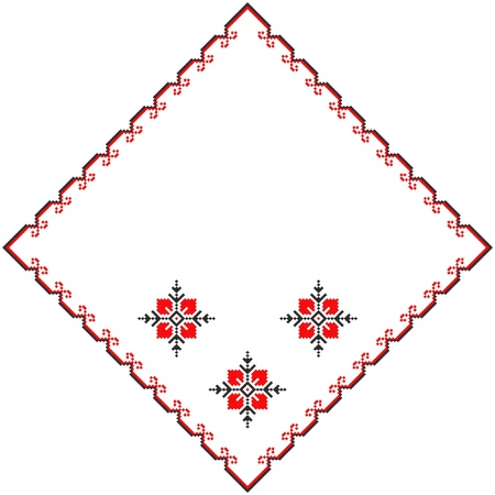 serviette: embroidered serviette like handmade cross-stitch ethnic Ukraine pattern Illustration