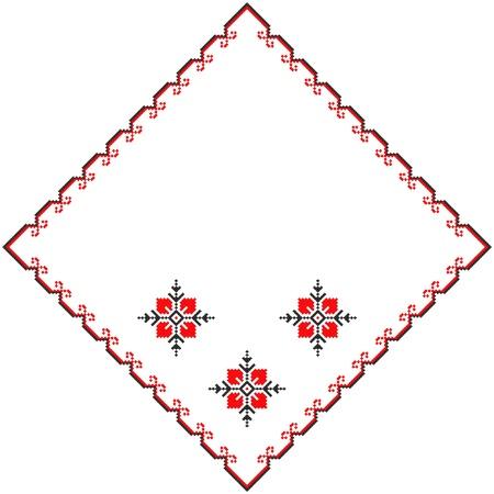 embroidered serviette like handmade cross-stitch ethnic Ukraine pattern Stock Vector - 8949260