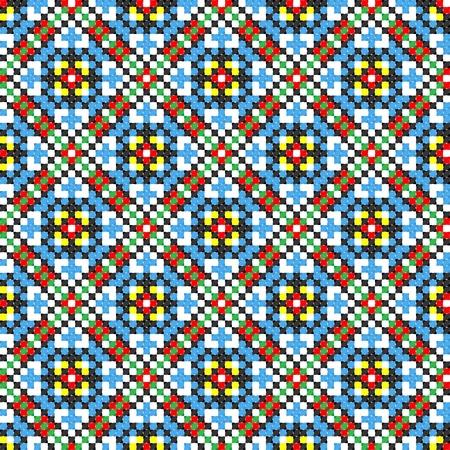 seamless embroidered good like handmade cross-stitch ethnic Ukraine pattern Stock Vector - 8949270