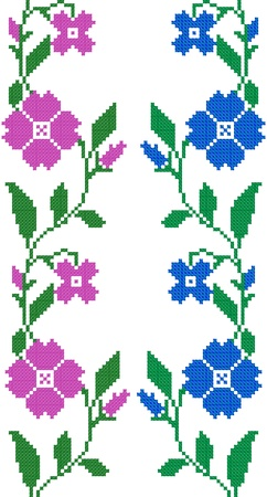 serviette: two seamless embroidered goods like handmade cross-stitch ethnic Ukraine pattern